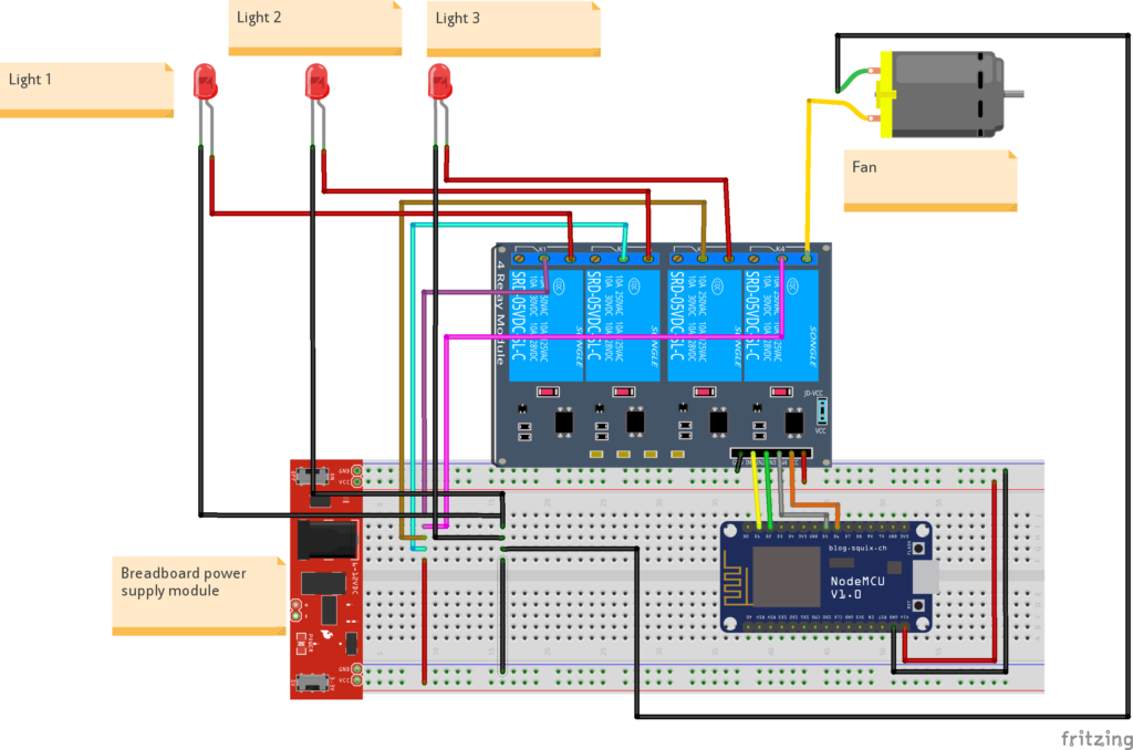 wiring diagram for iot based home automation concept
